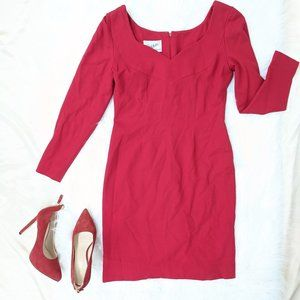 Vintage Scaasi Red Wool Long Sleeve Dress